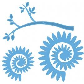 Vyřezávací šablona - skládací plastický květ špičatý lístek