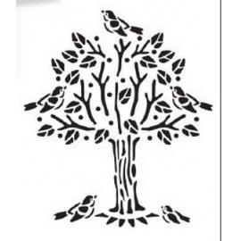 Šablona strom s ptáčky A4