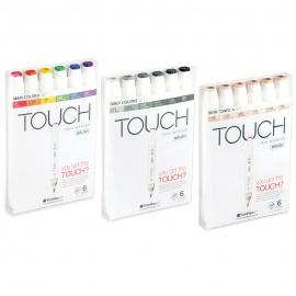 Touch marker 6 ks set Cool Grey - štětcové