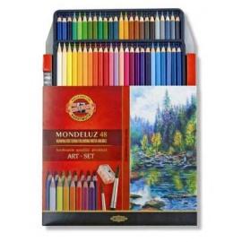Souprava akvarelových pastelek Mondeluz 48 ks - plech