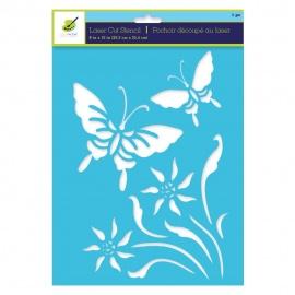 Šablona na textil A4 - motýl a květina