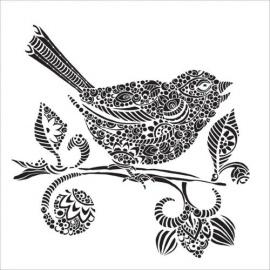 Šablona na textil 30*30 cm - ptáček