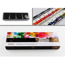 Sada akvarelových barev Watercolor 24 ks v kovové krabičce