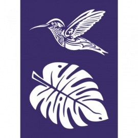 Sítotisk šablona My style A4 - kolibřík a list