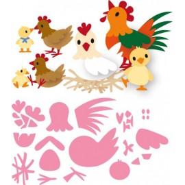 Vyřezávací šablona slepičky a kuřátka