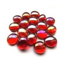 Nugety sklo 100gr- červená iridescent 13-15 mm