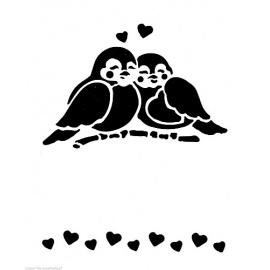 Šablona ptáčci na větvičce A5