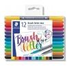 "Štětcové fixy ""Brush letter Duo"", sada, 12 barev"