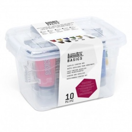 Sada akrylových barev liqutex Basic 9*75 ml + sada štětců