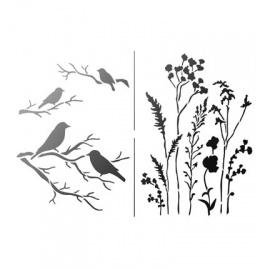 Šablona na textil traviny a ptáčci  A4