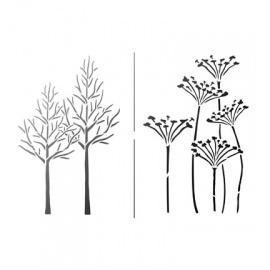 Šablona na textil traviny a stromy  A4