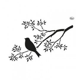 Šablona na textil ptáček na větvičce A4