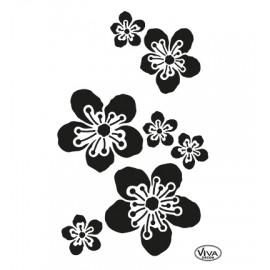 Šablona na textil květiny A4
