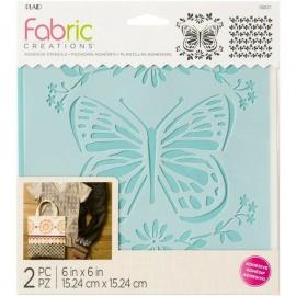 Šablona na textil - 2 ks šíře 15*15 cm - motýl a pozadí