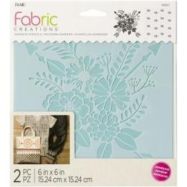 Šablona na textil - 2 ks šíře 15*15 cm - kytice a pozadí