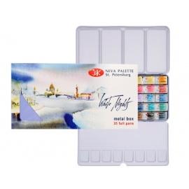 Sada akvarelových barev White Night 35 ks v plechu