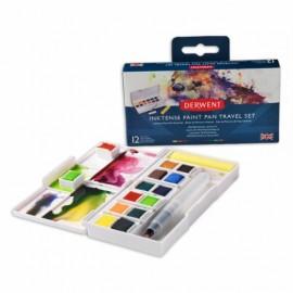 Sada akvarelových barev Inktensee - 12 pánviček + vodní štětec