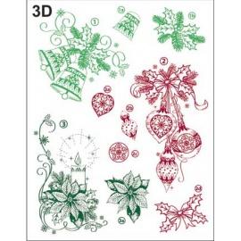 Silikonové razítko 14*18 cm vánoční ozdoby 3D