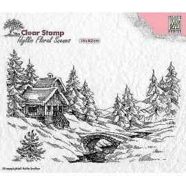 Silikonové razítko -14*10 cm vánoční scenerie