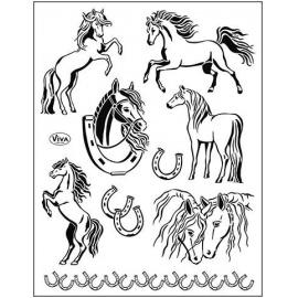 Silikonové razítko - 14*18 cm - koně