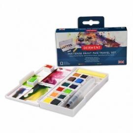Sada akvarelových barev Inktensee II - 12 pánviček + vodní štětec