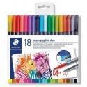 Štětcové oboustranné akvarelové fixy Marsgraphic Duo, sada, 18 barev