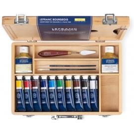 Sada olejových barev Lefranc fine oil box 10*40 ml v dřevěné kufříku