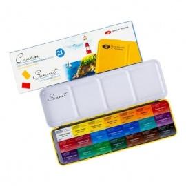 Sada akvarelových barev Sonnet 21 ks v plechové pouzdře
