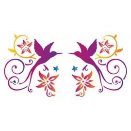 Šablona na texil -  dva ptáčci ornamenty 15*35 cm