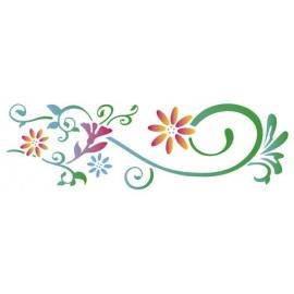 Šablona na texil -  květiny ornamenty 15*35 cm