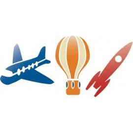 Šablona na texil - letadlo, raketa, balon  15*35 cm