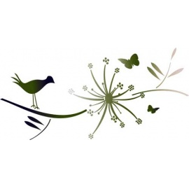 Šablona na texil - pták a květina 15*35 cm