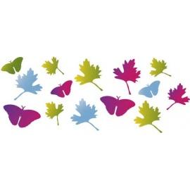 Šablona na texil - motýli a listy 15*35 cm