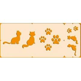 Šablona na texil -  kočky a tlapky  15*35 cm