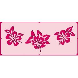 Šablona na texil - exotické květiny 15*35 cm