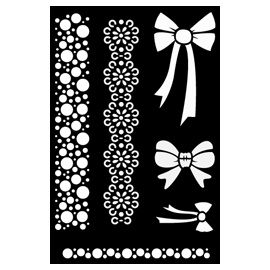 Malá šablona 13*23 cm - 015 mašličky