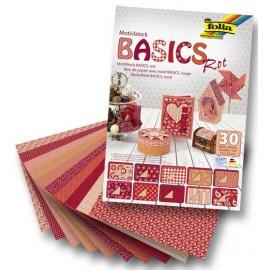 Sada papírů Basic červená -30 ks
