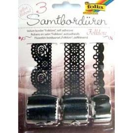 Samolepící sametové bordury 3*1 m - černé