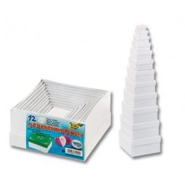 Dárkové krabičky čtvercové bílé - 12 ks