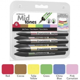 Promarker oboustranný fix  - set midltones 6 ks