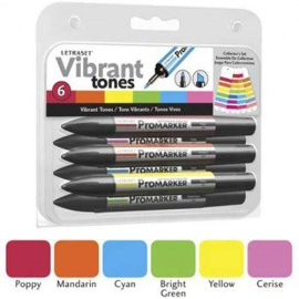 Promarker oboustranný fix  - set vibrant 6 ks